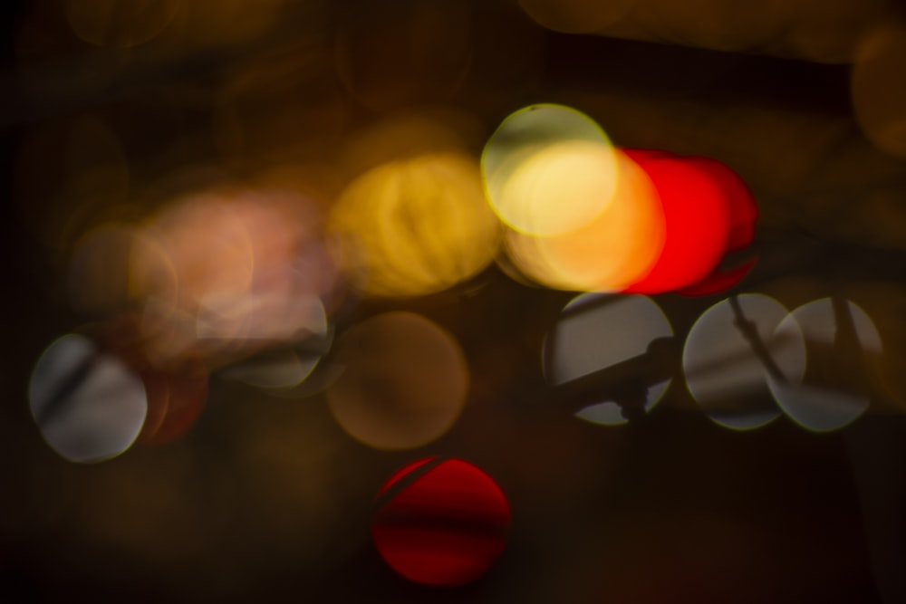 bokeh photography of red yellow and white lights
