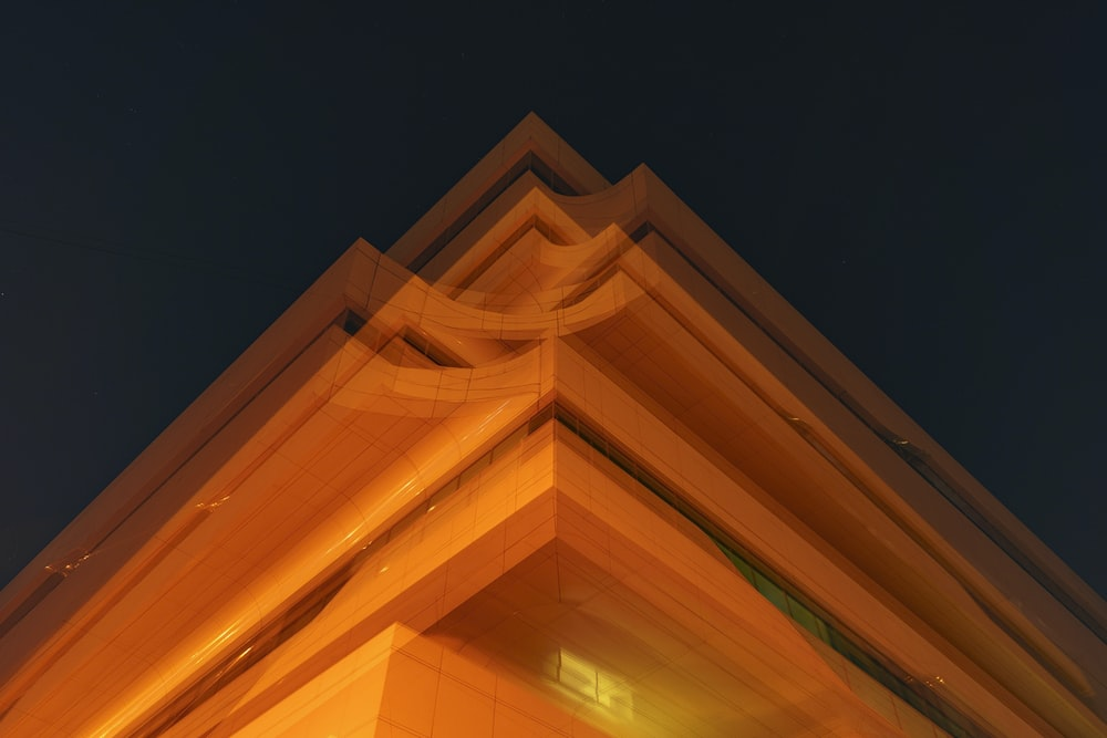 yellow and black lighted building