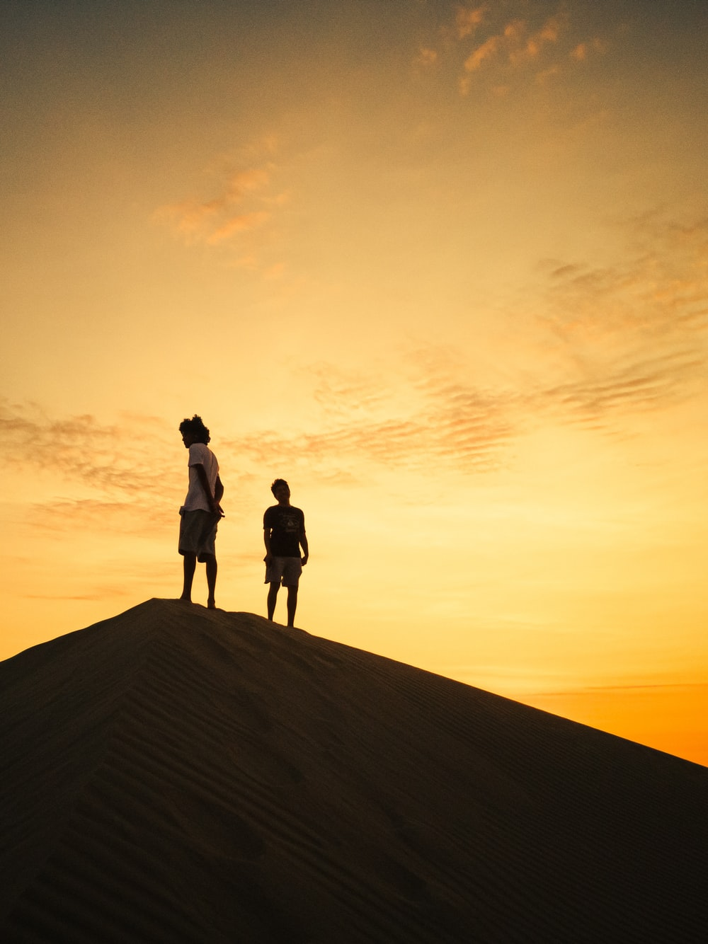 silhouette of man standing on brown sand during sunset
