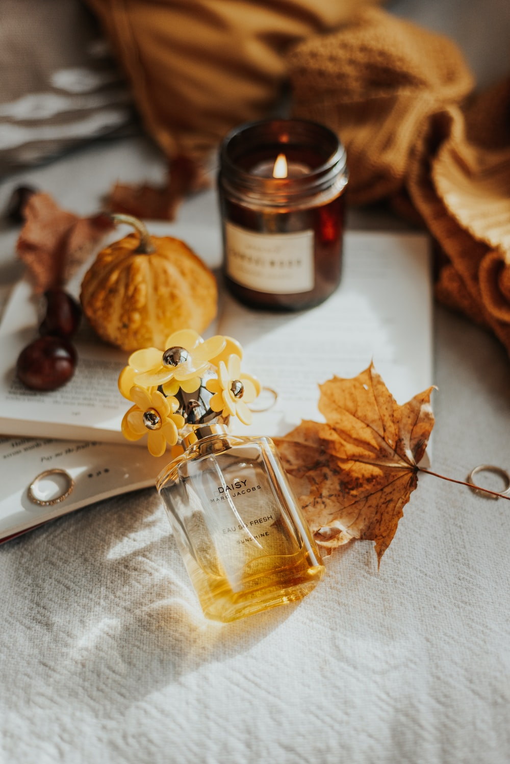 brown dried leaves beside brown glass bottle
