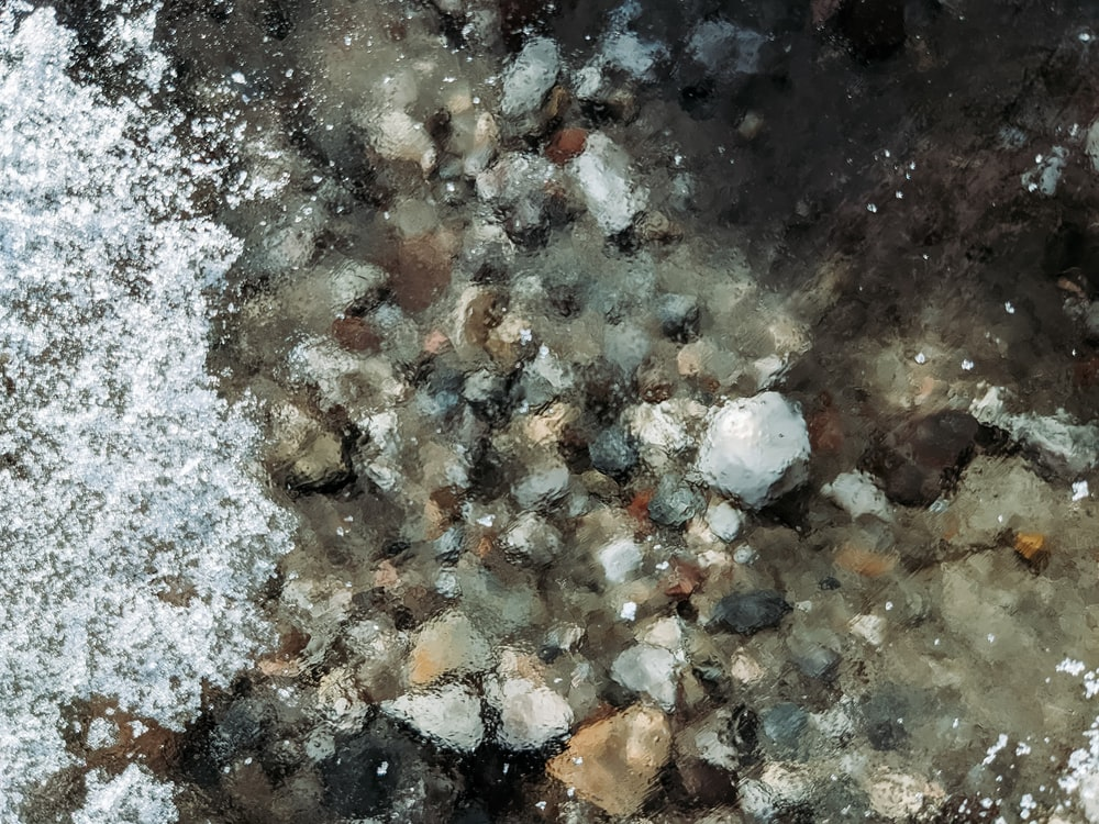 white gray and brown stone fragments