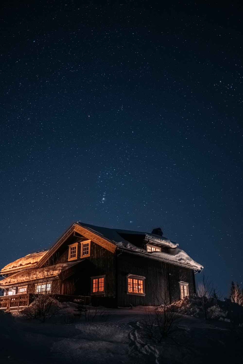brown wooden house under blue sky during night time