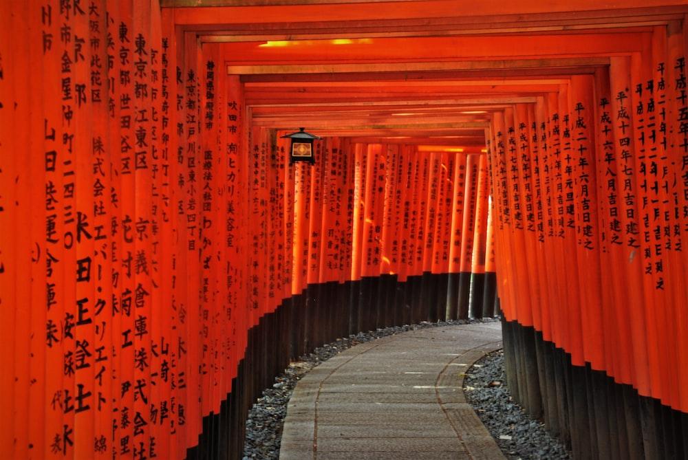 orange and black tunnel with orange lights