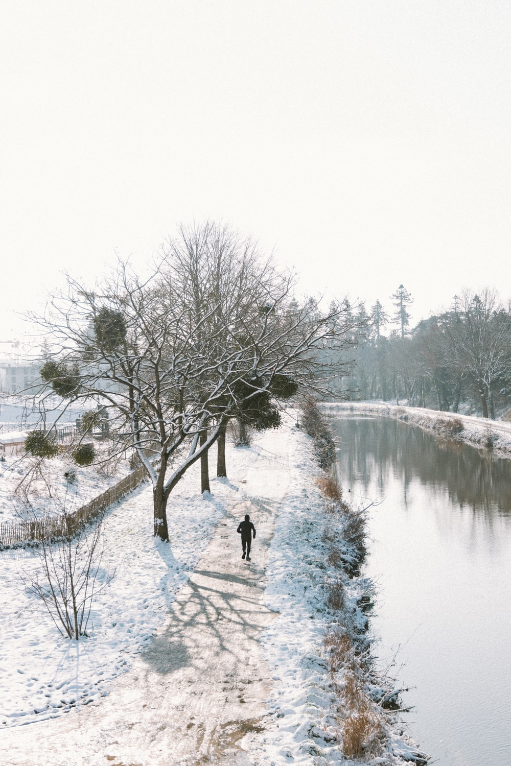 person in black jacket standing on snow covered ground near body of water during daytime
