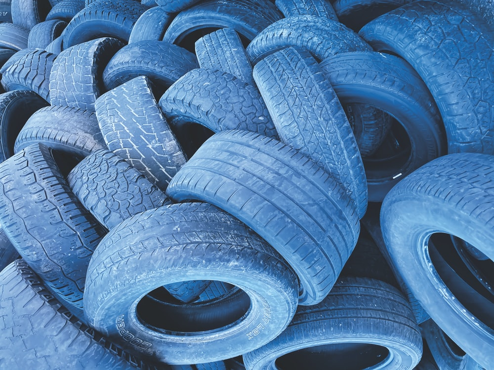 blue and black tire lot