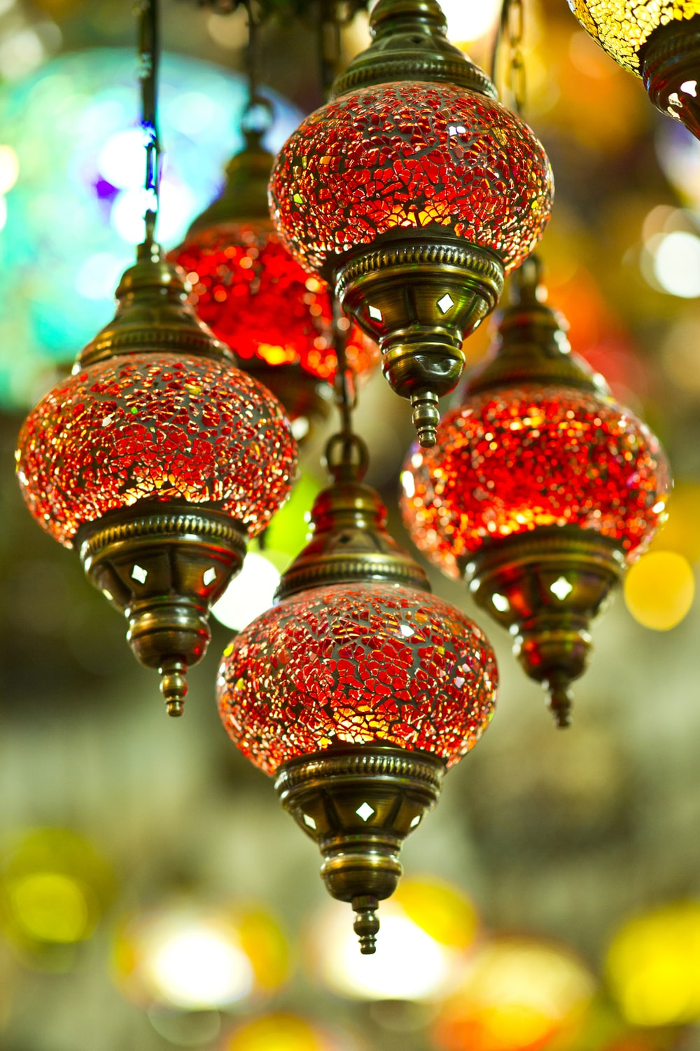 red and gold pendant lamp