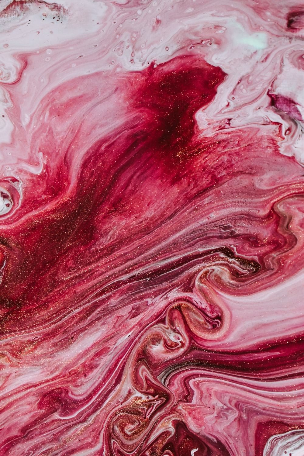 red and white abstract painting