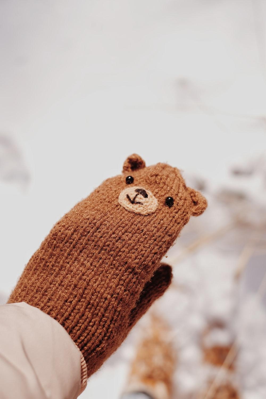brown bear knit plush toy