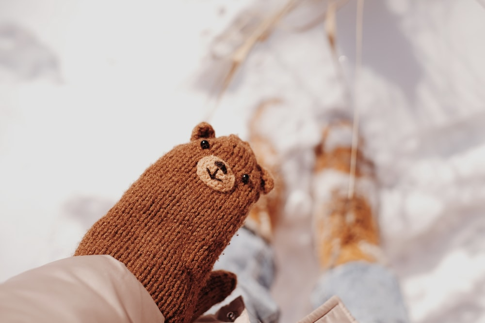 brown knit bear plush toy