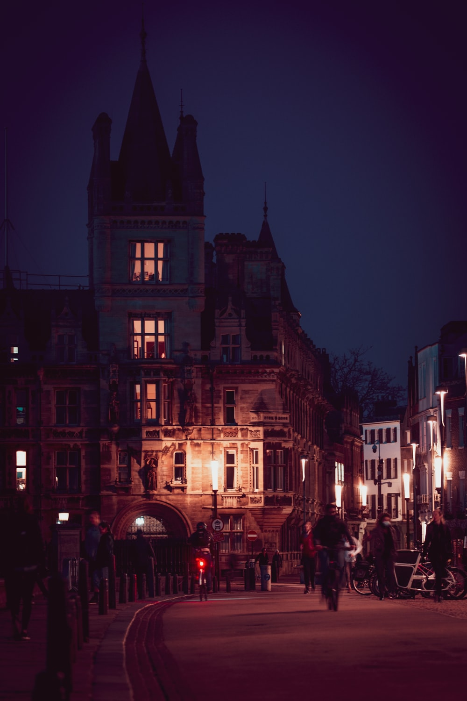 people walking on street near buildings during night time