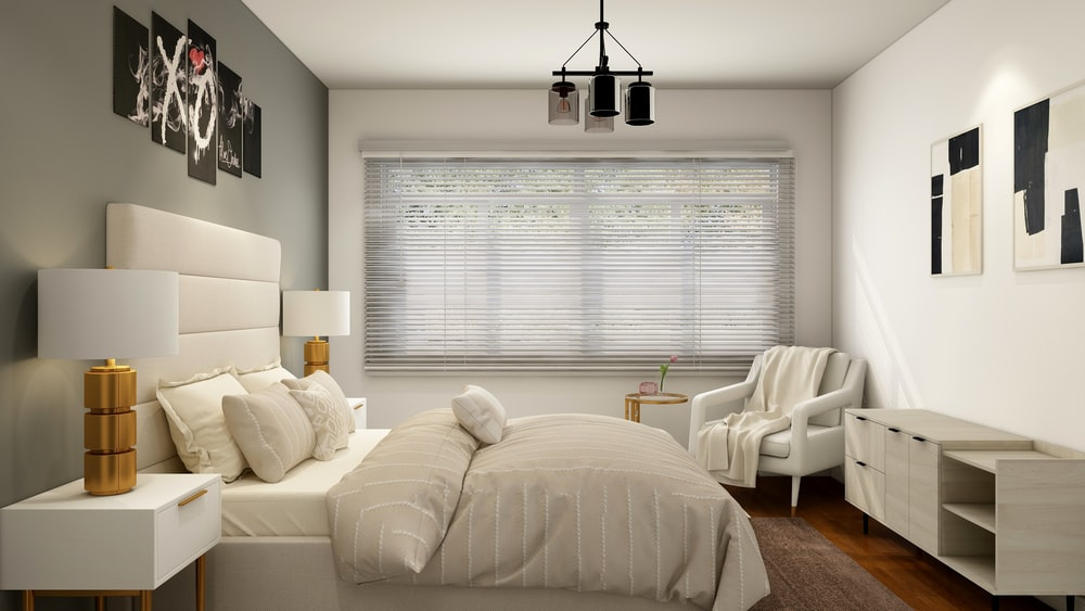 white bed near white window blinds