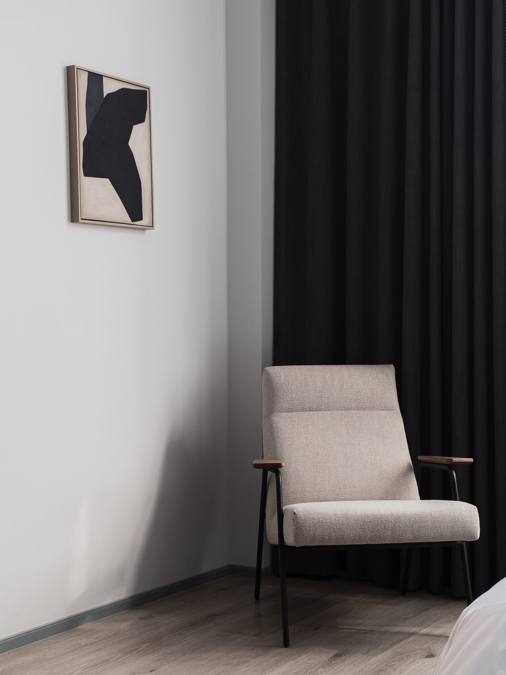black and white painting on wall