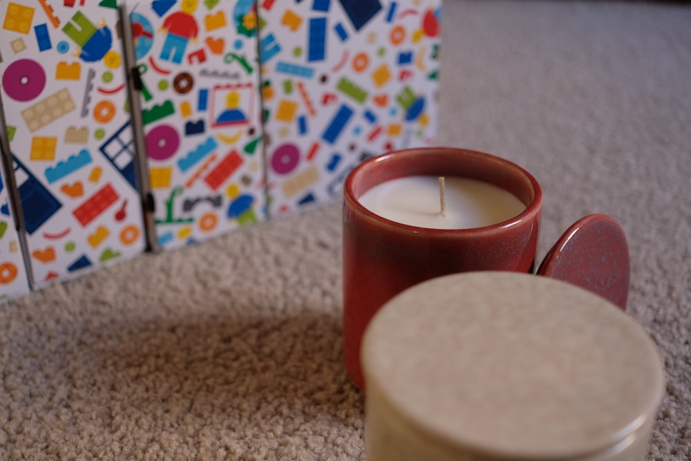 red and white pillar candle