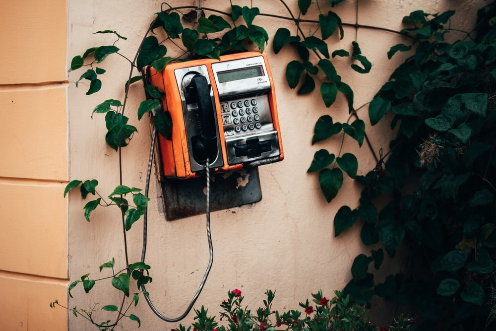 red and black telephone on brown wall