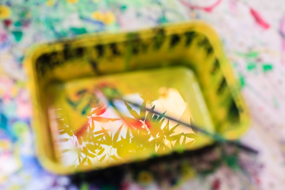 yellow and black floral tray