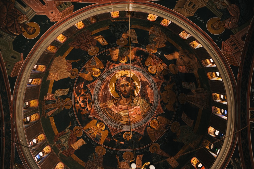 brown and black ceiling with jesus christ