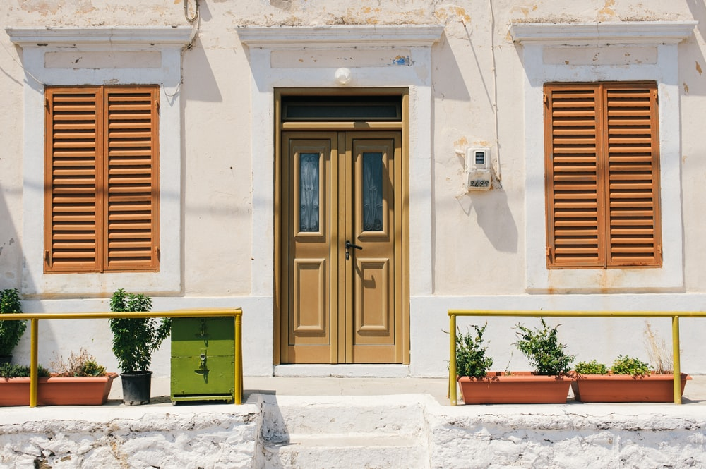 brown wooden door with green plant in front