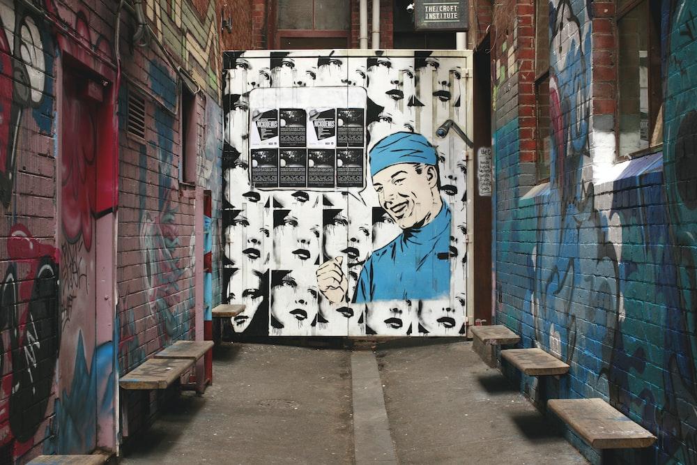 blue and white wall graffiti