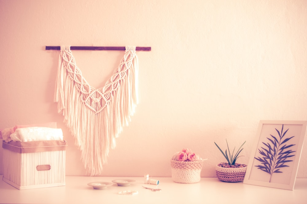 white and blue hanging decor