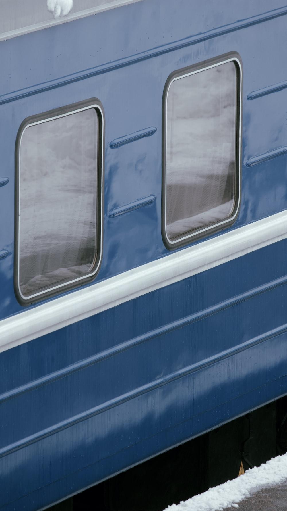 blue and gray train door