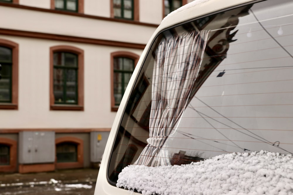 car side mirror with snow