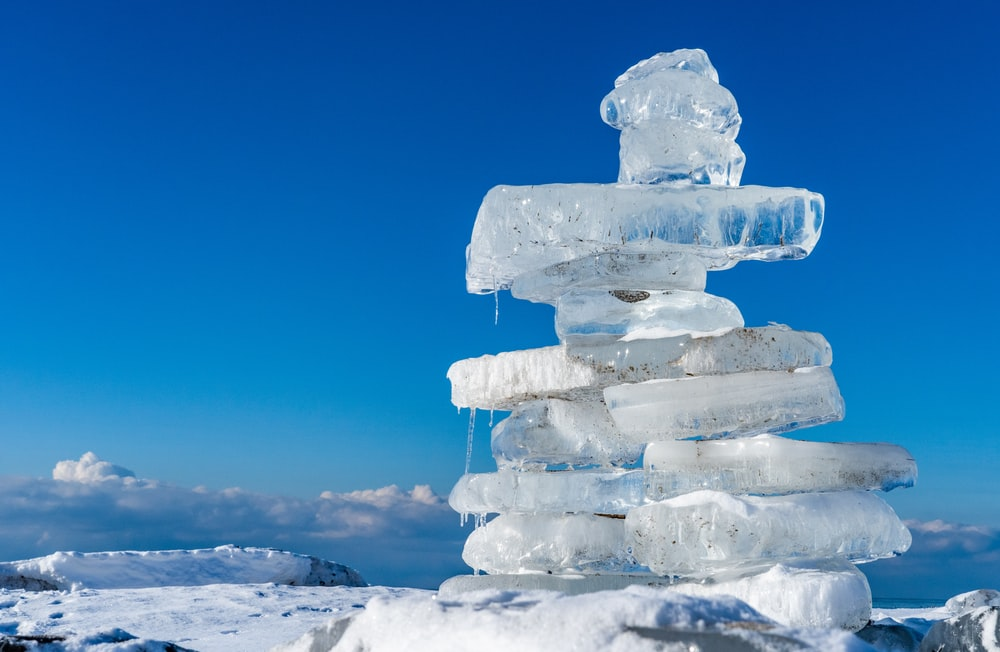 ice blocks on white snow