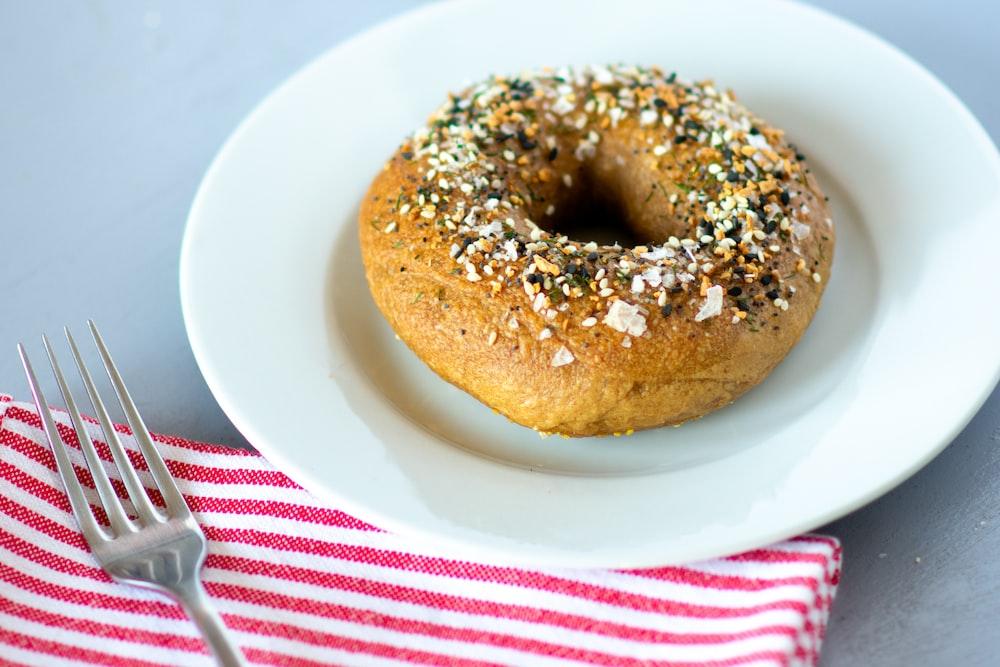 doughnut on white ceramic plate