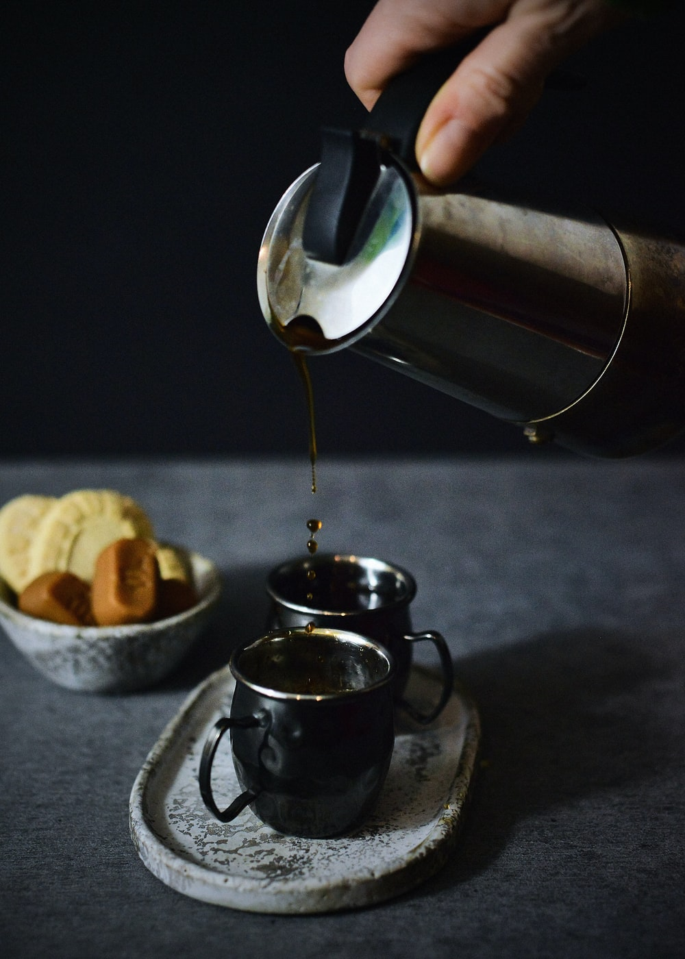 stainless steel cup on saucer