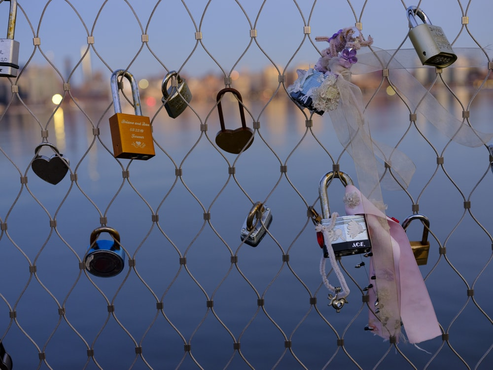 padlock on chain link fence