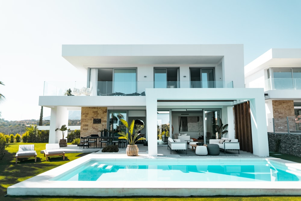 white and blue swimming pool