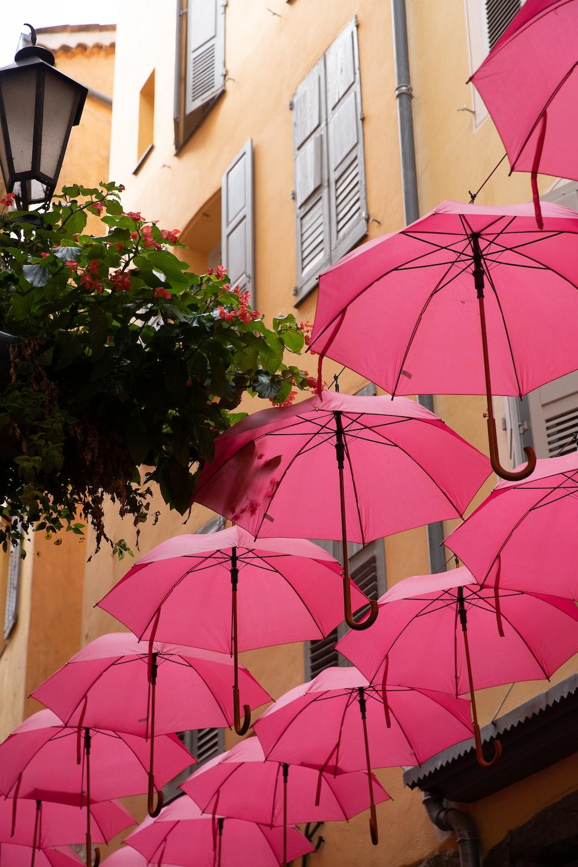 pink umbrella near brown concrete building during daytime