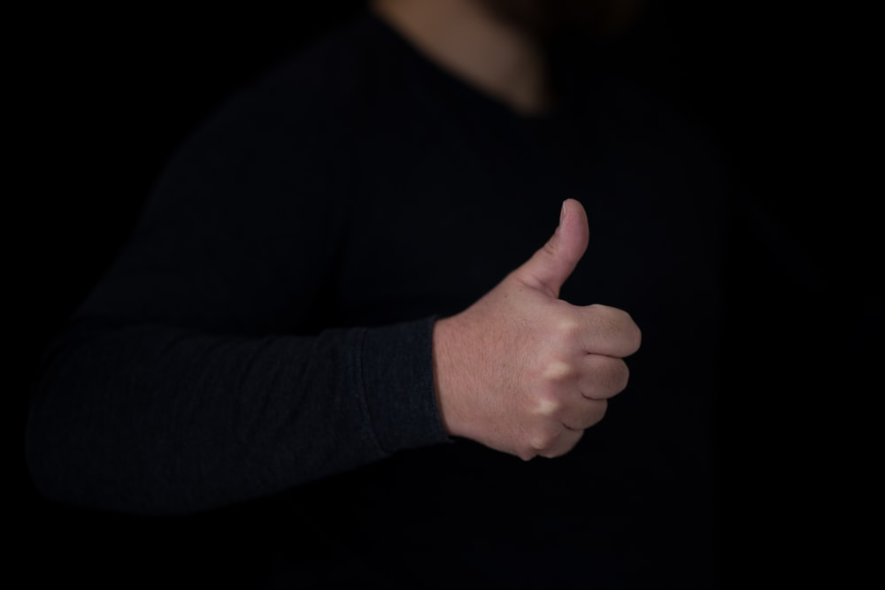 person in black long sleeve shirt