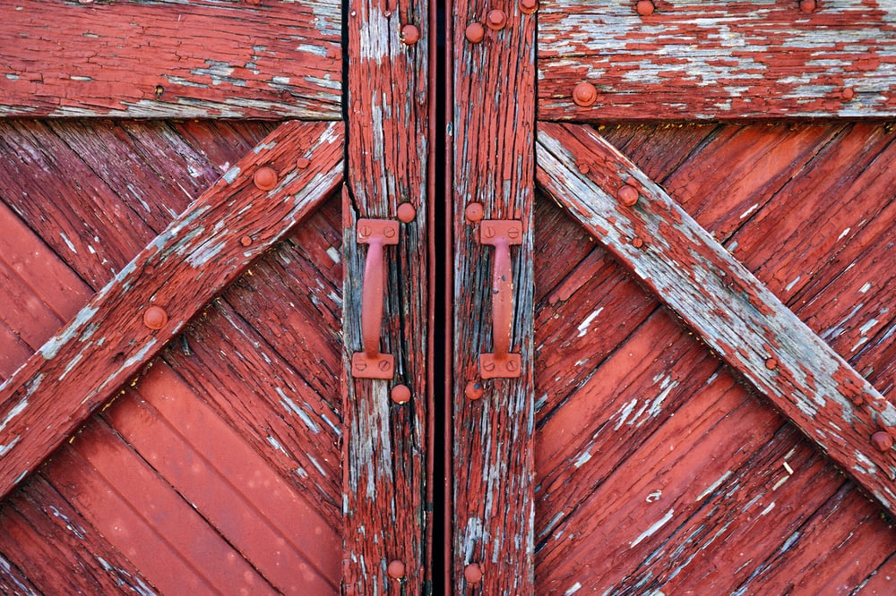 red and white wooden door