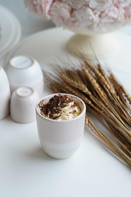 white ceramic bowl with brown powder
