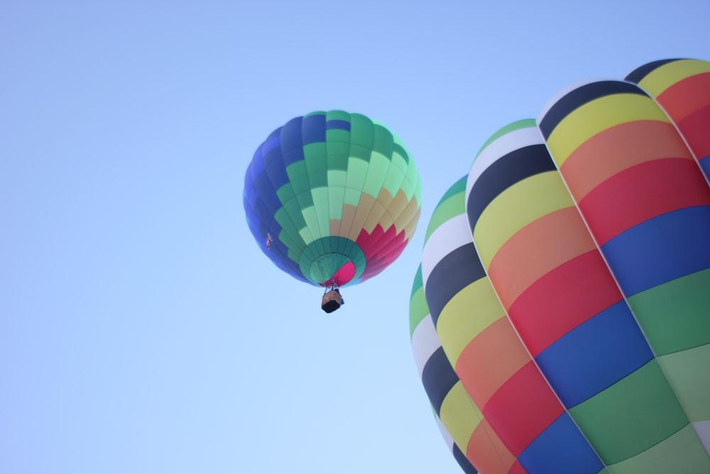 multi color hot air balloon in mid air