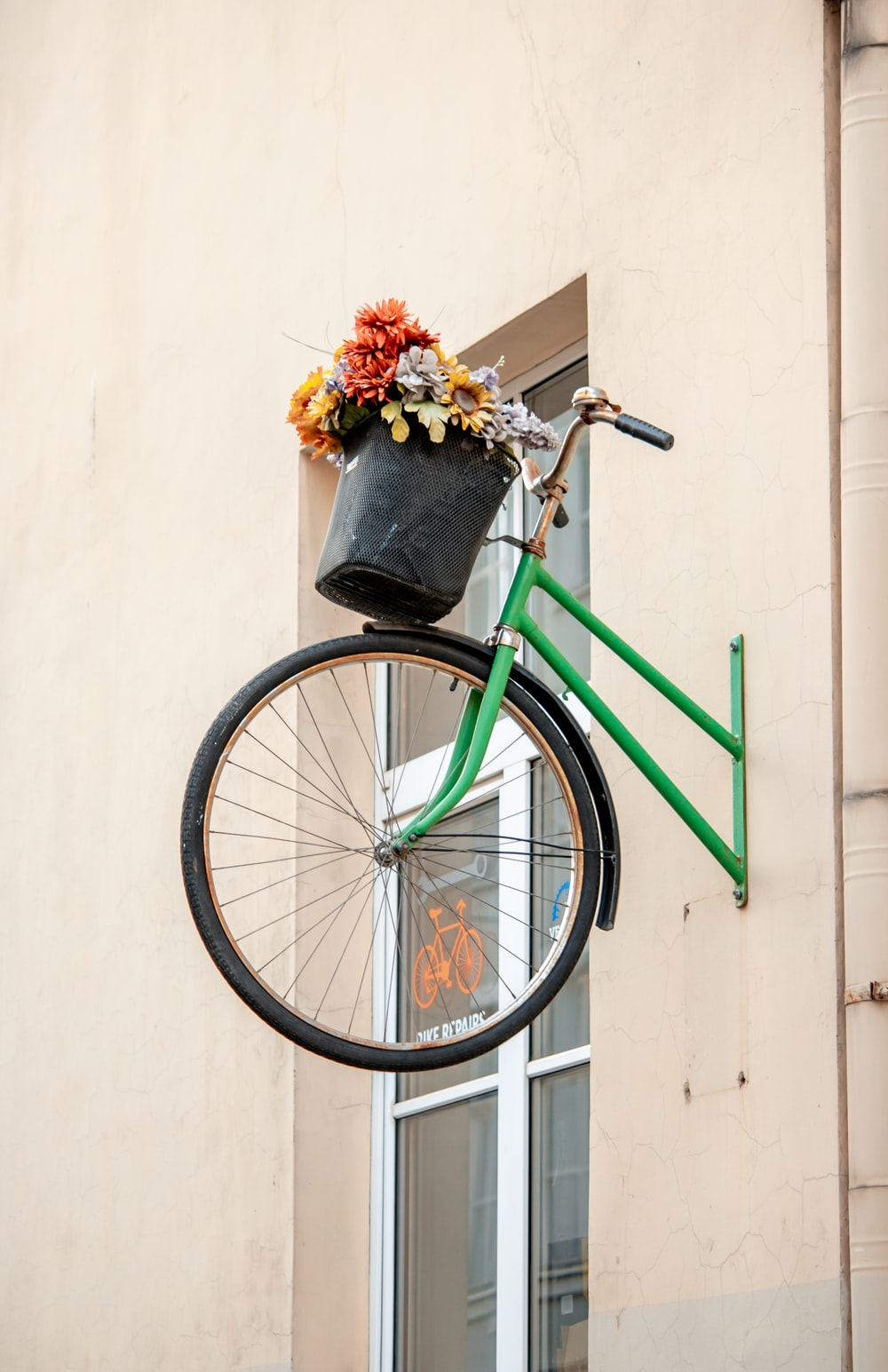 green city bike with flowers