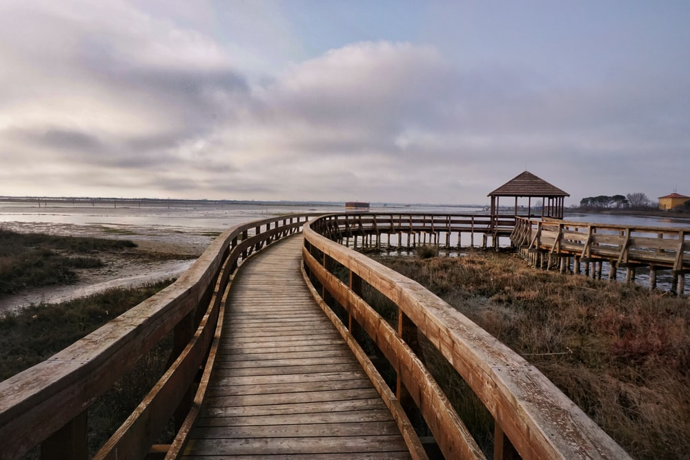 brown wooden bridge on beach under gray cloudy sky