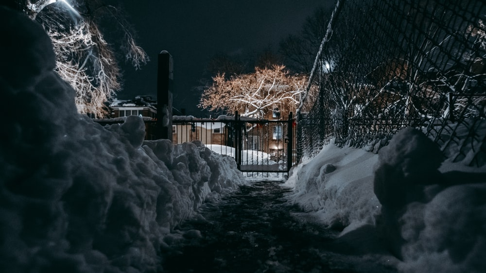 brown wooden house covered with snow during night time