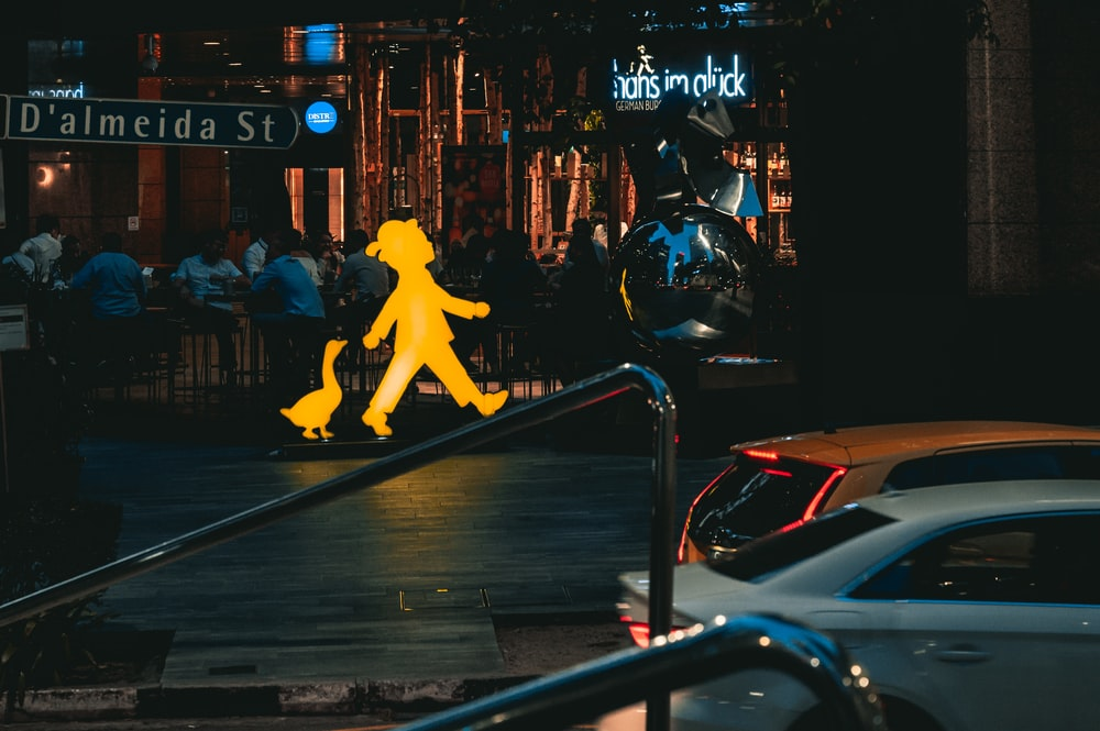 yellow horse statue on the street
