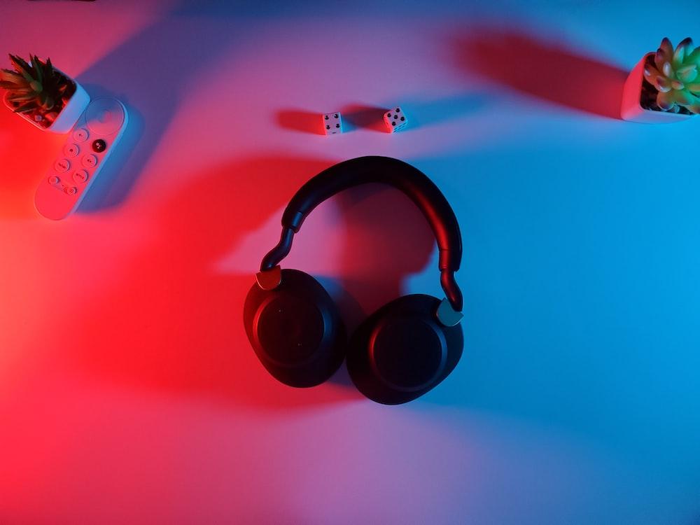 black and red wireless headphones