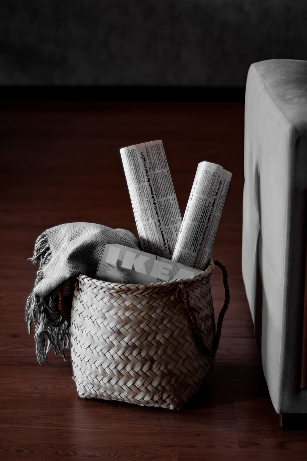 white tissue paper on brown woven basket