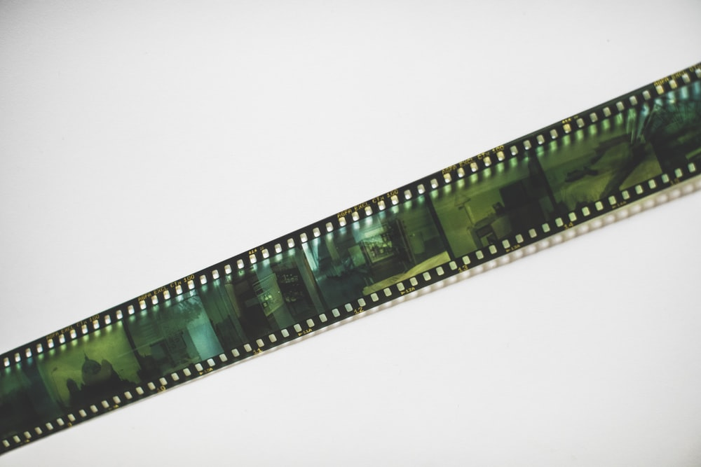 green and white film strip
