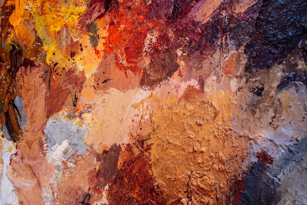 brown red and white abstract painting