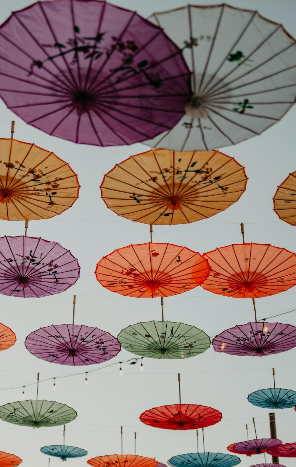 red and white umbrella lot