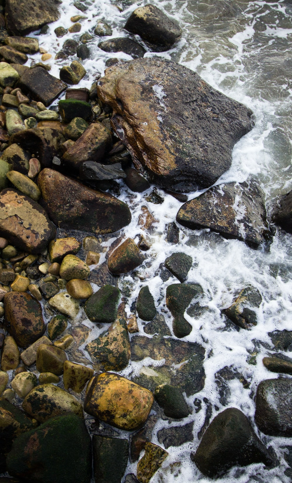 rocky shore with water waves