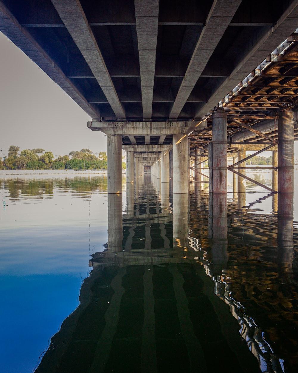 brown wooden bridge over the lake