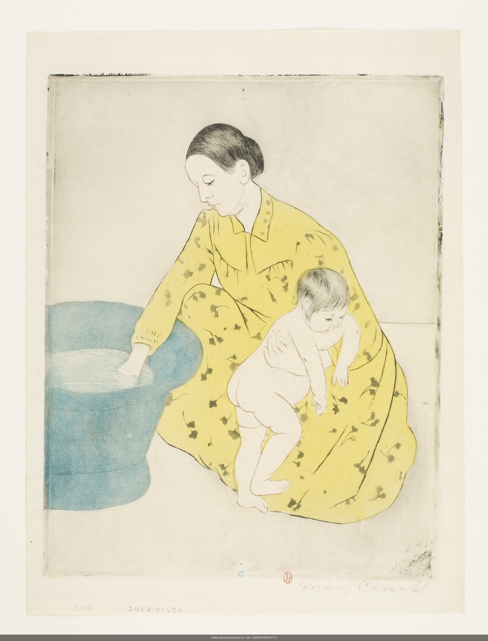 man in blue long sleeve shirt and blue pants sitting on blue textile drawing