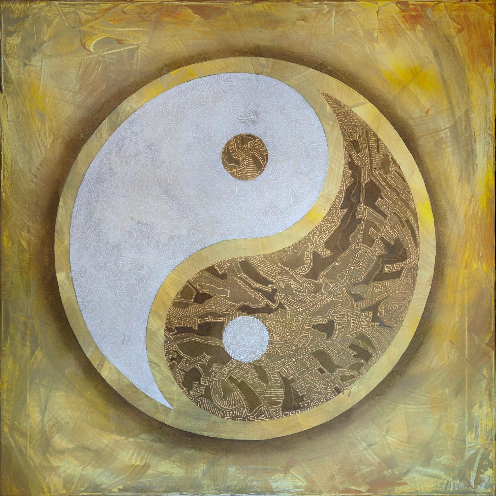 Yin Yang. A cozy picture in calm warm colors. The symbol is richly decorated with flowers and abstract lines. ■(RUS) Инь-Ян. Уютная картина в спокойных теплых тонах. Символ богато декорирован цветами и абстрактными линиями.