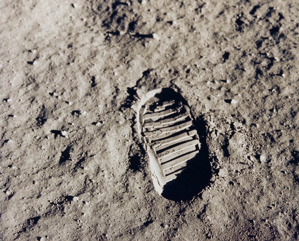 Footprint on lunar regolith
