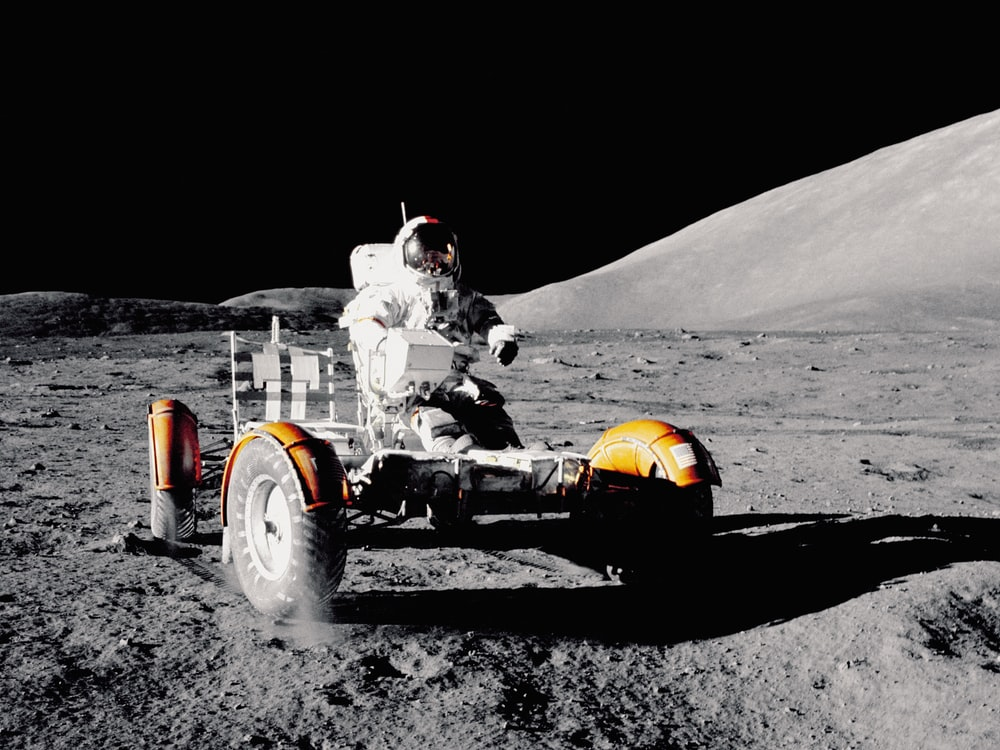Astronaut on lunar rover